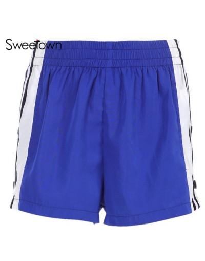 Striped Patchwork Elastic High Waist Shorts Women Pockets Side Split Casual Loose Short Feminino Korean Shorts Summer - as p...