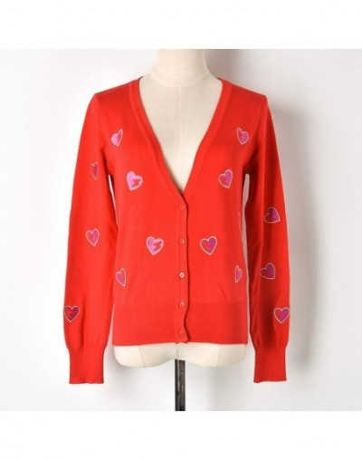RED Heart Embroidery V-neck Solid Vintage Cute Knitted Cardigan Sweater Spring Autumn Summer Women Slim Coat Girl QW - RED -...
