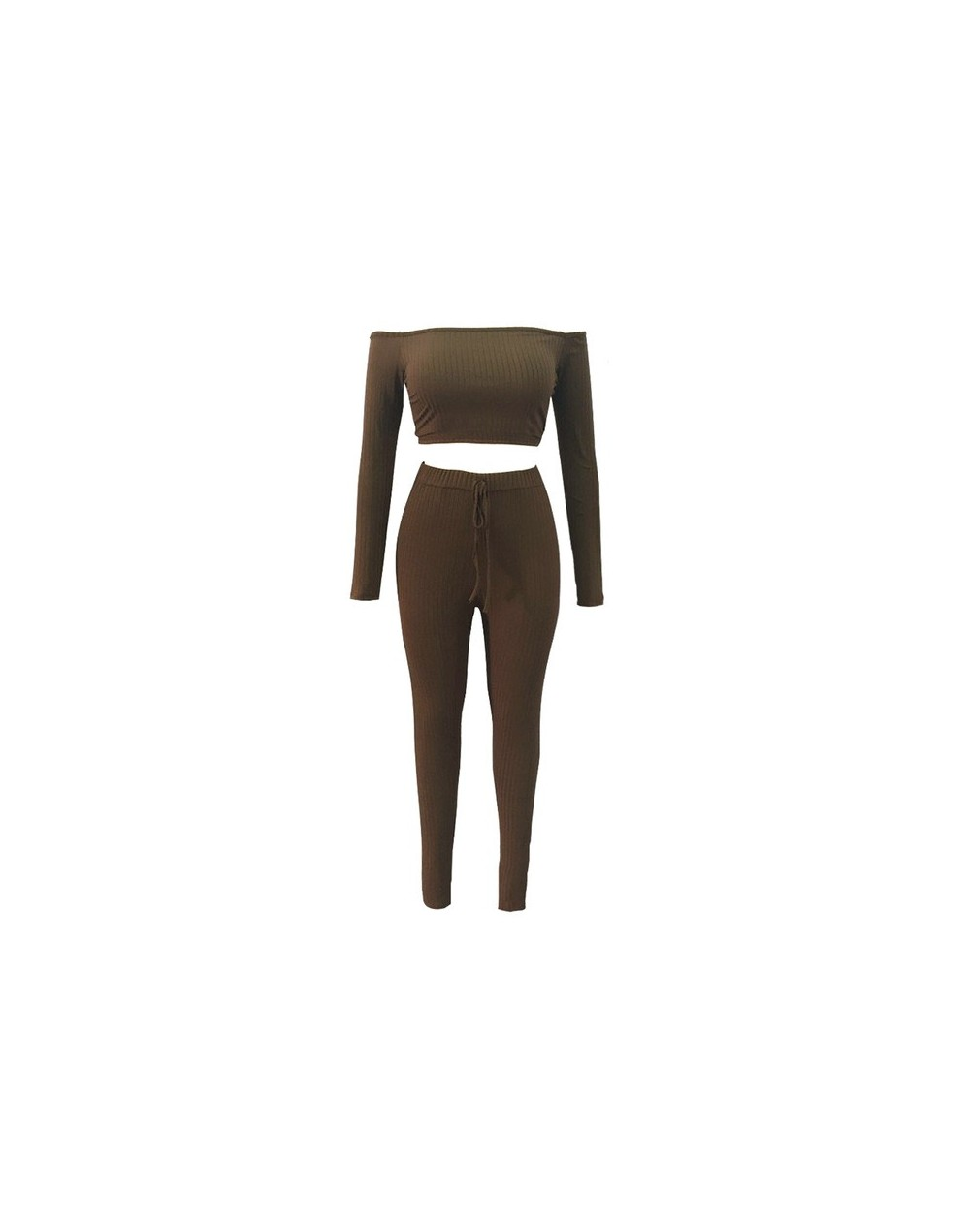 Sexy Women Two Piece Set Crop Top Leggings Solid Ribbed Off Shoulder High Waist Slim Club Party Wear 2019 Fashion Autumn Sui...