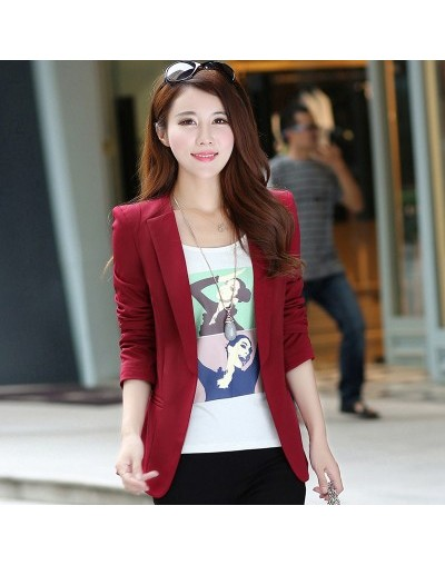 Women Blazers Jackets Black Spring Autumn All-match Slim Business Suit Large size Casual candy color Women Blazer Suit Coat ...