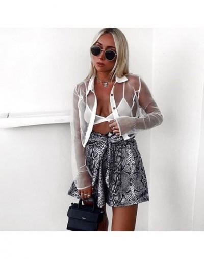 Snake Print High Waist Shorts Women 2019 Spring Lace Up Ruched Shorts Mujer Casual Pantalones Cortos Mujer - Black - 4230757...