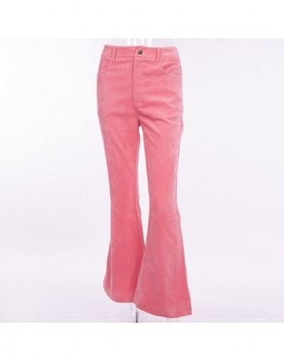 Laughido Corduroy Flare Pants Women High Waist Pocket Autumn Winter Fleece Slim Trousers Female 2019 New Casual Pants Khaki ...