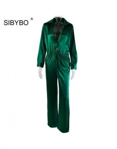 Satin Buttons Loose Casual Jumpsuit Women Long Sleeve Drawstring Shirt Romper Women Pockets Autumn Jumpsuits Rompers - Green...