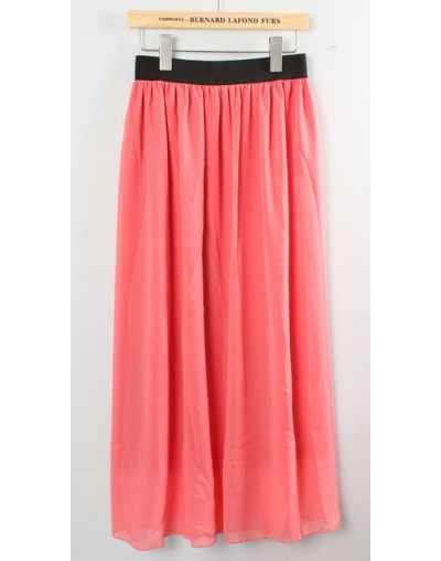 New Brand Designer Hot Sale Candy Colors High Quality Sexy Long Chiffon Skirt Pink Blue Black Red White Green C003 - waterme...