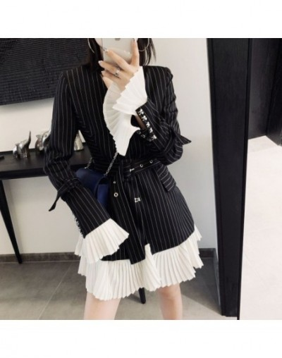 2019 New Turn-down Collar Flare Sleeves Pleated Navy Striped High Waist Single Suit Women Blazer OL Fits Belts Blazer - grap...