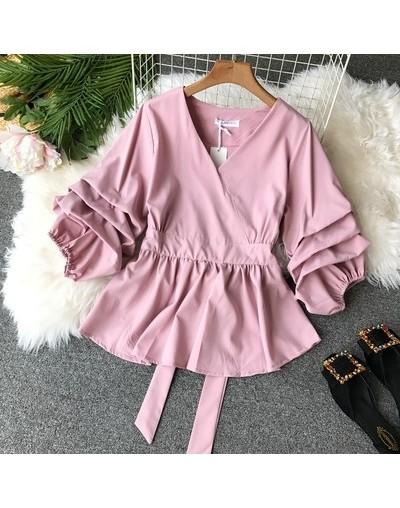 Solid Slim Waist Puff Sleeve Women Blouse V-Neck Vintage Blusa Elegant Female Top 2019 New Fashion Chic Shirts 68860 - pink ...