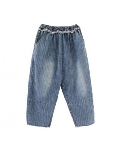 New Summer 2019 Women Jeans Harem Pants Wild Casual Fashion Striped Ladies Jeans Pluz Size Casual Ankle-length Pants - blue ...