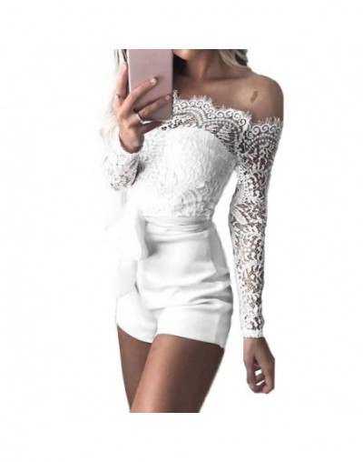 Fashion Sexy Off Shoulder Playsuits For Women Long Sleeve Sheer Lace Patchwork Hollow Bandage Skinny Jumpsuit - W - 33050762150