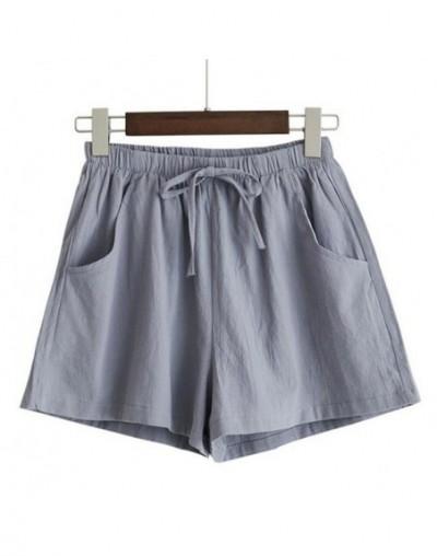 Shorts Women Casual Ladies High Waist Short Pants Female With Belt Pocket Solid - C - 4D4122743712-3