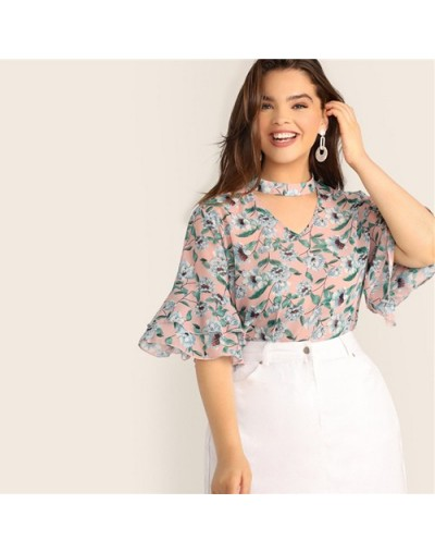 Plus Size V-Cut Choker Floral Print Butterfly Sleeve Top Blouse 2019 Women Summer Casual Keyhole Half Sleeve Blouses - Multi...