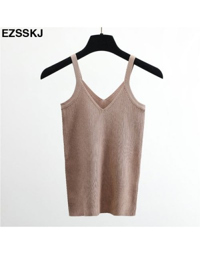 Summer Sexy Crop Top Knitted Tank top Women Blouse Soft V Neck Tops Female Sleeveless Vest Casual streetwear basic Camis - B...