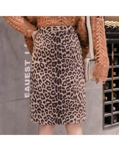 Sexy Leopard Women's Skirt Autumn New Korean Vintage A-line High Waist Slim Skirts Woman Fashion 2019 Ladies Clothes - apric...
