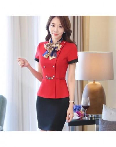 Professional set stewardess uniforms new fashion formal women short sleeve blazer with skirt office ladies plus size work we...