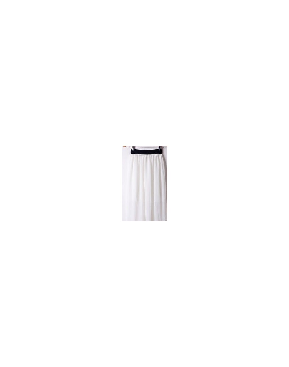 New Brand Designer Hot Sale Candy Colors High Quality Sexy Long Chiffon Skirt Pink Blue Black Red White Green C003 - white -...