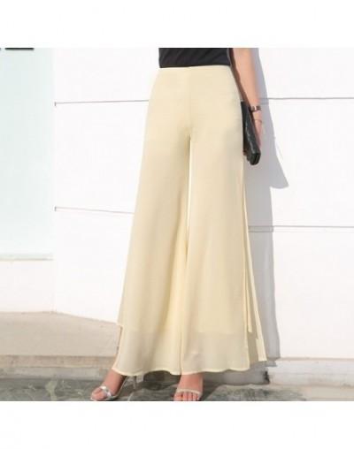 Women's Summer Wide Leg Long Trousers Casual Vintage High Waist Chiffon Side Split Loose Bohemia Skirt Pants Capris Solid - ...