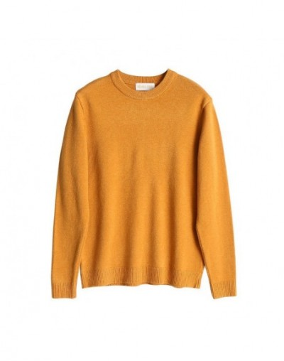 Women Casual Solid Basic Knit Sweater Female Chic O-neck Sweater Long Sleeve Ladies Elegant Comfortable Sweater - Yellow - 4...