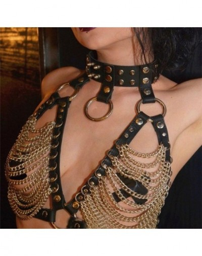 Faux Leather Link Chains Hollow Out Tank Tops Goth Metal O Rings Rivets Leather Bondage Belts Crop Top Sexy Women Lingerie T...