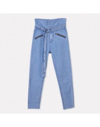 2018 Autumn Denim Jeans Women High Waist Winter Jeans Femme Streetwear Straight Washed Jeans Female Cowboy Denim Pants - Blu...