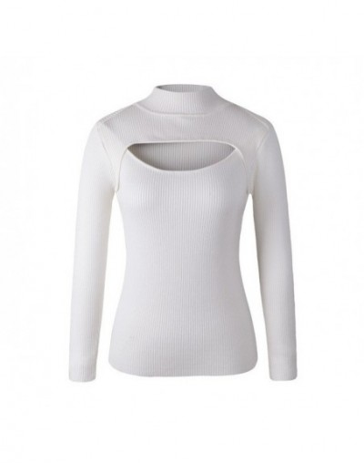 Sexy Open Chest Sweaters Harajuku Women Slim Anime Keyhole Pullovers Turtleneck Collar Knit Sweaters - white thin strips - 4...
