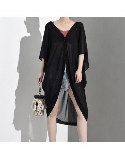 2019 New Spring Summer V-collar Tree-quarter Sleeve Black Irregular Hem Big Size Chiffon Shirt Women Blouse Fashion JS1300 -...