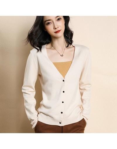 Women's Cardigan Sweater Long Sleeve Knit Cashmere Cardigan Jacket V-neck Solid Color Slim Fit Jacket Casual Top - Beige - 4...