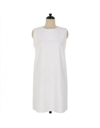 2019 Women Sundress Spring Summer Solid Cotton and Linen Casual Vintage High Waist Straight Mini Tank Dress DR1818 - White -...