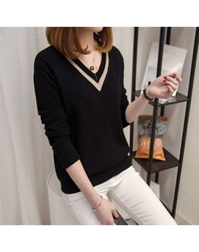 2019 Autumn Winter Sweater Women Jumper Hollow Out V-neck Loose Knitted Pullover Sweater Female Pull Femme Pink Khaki - Blac...