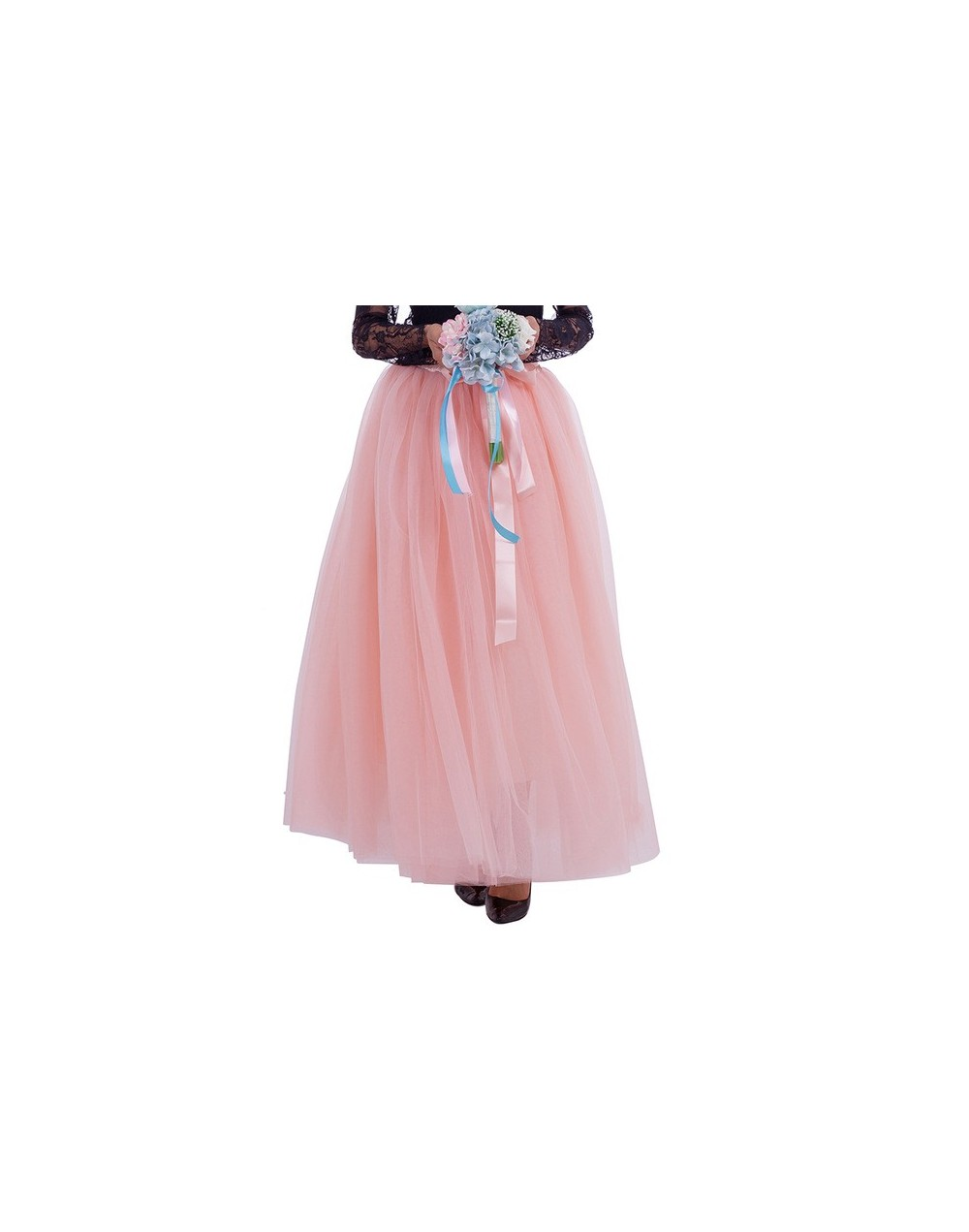 7 Layers 100cm Long Tulle Skirts Women Floor-Length Pleated Skirt Fashion Wedding Bridal Bridesmaid Skirt Faldas Jupe Saias ...