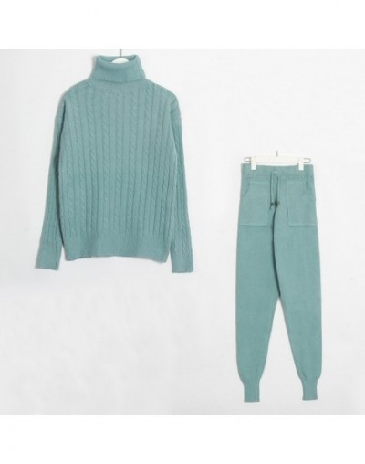 Knitted Women Sweater Sets Turtleneck Long Sleeve Sweaters Tops+Pockets Long Pants Solid 2 Pieces Suits Winter Costume - Lig...