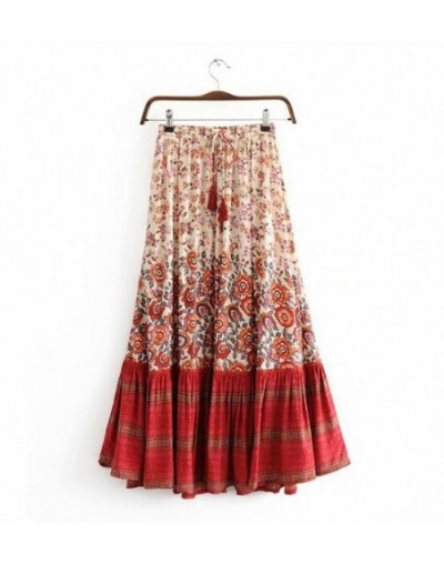 Bohemian Stream Location Floral Print Long Skirt Ruffles Hem Holiday Women Hollow Out Lacing up Stream Waist Swing Skirts Be...