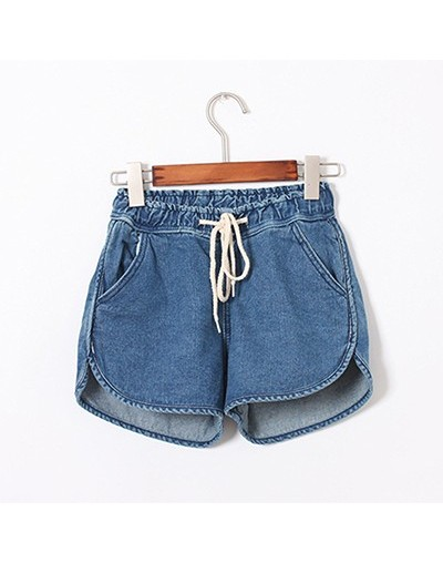 Short Jeans Women Korean Style Casual Blue Mid Elastic Waist Loose Short Denim Shorts Ladies Denim Jeans Plus Size Feminine ...
