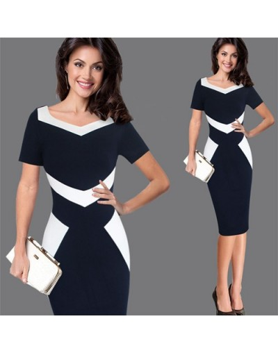 Women Elegant Patchwork Office Business Party Evening One Piece Dress Suit Mother of Bride Special Occasion Sheath Bodycon D...