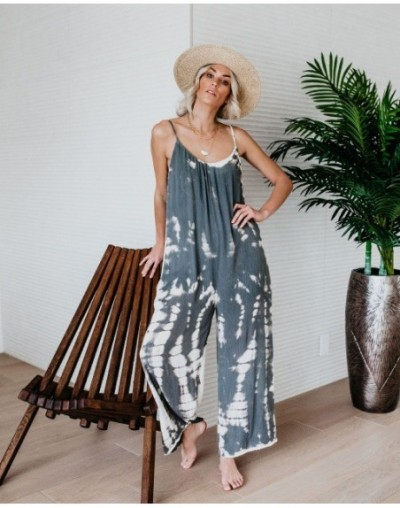 Summer Print Beach Jumpsuit Cotton Holiday Loose Rompers Sleeveless Over Size Jumpsuit - Gray - 4W4122002669-2