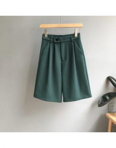 Mooirue Summer Spring Wide Leg Shorts Woman Street Style Love Bf Suit Highwaist Lady Hotpants Green Khaki Black Bottom - Bla...