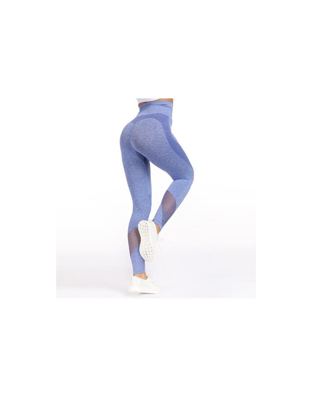 Fitness Seamless Leggings For Women Legging Hollow Out Leggings Breathable Jeggings Women Pants 4Color - Blue - 4V3065666032-1