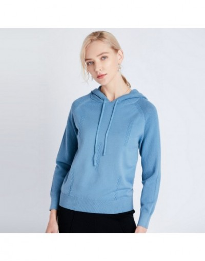 Hoodies Women 2019 Female Long Sleeve Solid Color Hooded Sweatshirt Knitted Loose Harajuku Tops Casual Sportswear - blue - 4...