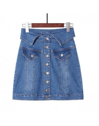 Skirt High Waist A-line Mini Skirts Women Summer New Arrivals Single Button Pockets Blue Jean Skirt Style Saia Jeans - Blue ...