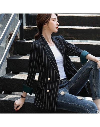 Bouble Breasted Solid Women Blazer With Pockets Female Coat Fashion blazers Outerwear high quality Jackets 5XL - Black Strip...