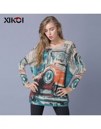 Oversize Women Sweater Top Classic Cars Print Knitted Sweater Casual Plus Fashion Pullover For Women Jumper Loose Grey - Apr...