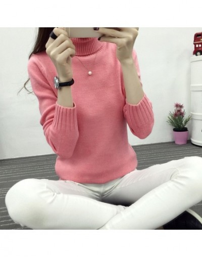 Women Autumn Winter Long Sleeve Knitted Women Sweaters And Pullovers Turtleneck Sweater Female Jumper Pull Femme - pink colo...