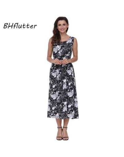 New Style Women Dress 2018 Fashion Floral Print Sleeveless Summer Dress High Waist Casual Long Bohemian Dress Vestidos - pic...