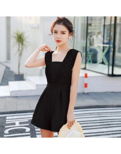 2018 Summer Playsuit Sexy Sleeveless Short Jumpsuit Shorts Solid Overalls Romper Rompers Womens lace Jumpsuit AE943 - Pink -...
