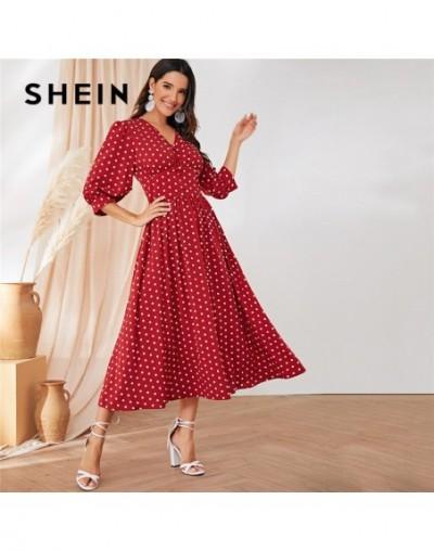Burgundy Polka Dot Wide Waistband Button Detail Maxi Dress Women Elegant V Neck Bishop Sleeve Long Dress Party Dresses - 4H4...