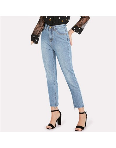 Blue Casual Solid Frayed Hem Denim Jeans 2018 Autumn Ripped High Waist Jeans Female Pants Spring Boyfriend Jeans - Blue - 4V...