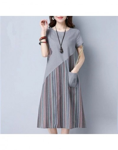New Summer Loose Plus size Dress Office Lady Casual Striped patchwork Mid Long Dresses Short Sleeve A-Line dress HY368 - Gra...