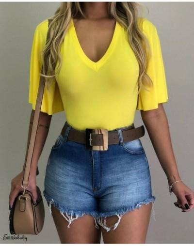 Summer Womens Ladies Fashion Casual Boho Tops Short Sleeve Loose V Neck Plain T-Shirt Tunic Tops Black Green Yellow Wine Red...
