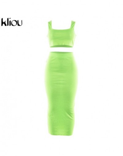 women fashion two pieces outfits solid Fluorescence sexy camisole top high waist skirt 2019 female fashion party club sets -...
