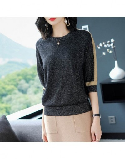 thin Sweater Women Short sleeve Pullover Women fashion Bright silk Sweaters Women 2019 Spring Knitted sweaters Tops Femme - ...
