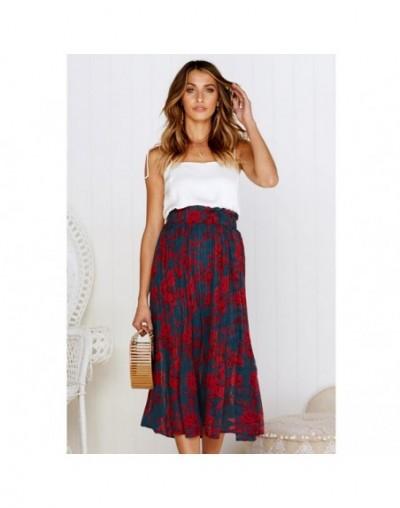 Women's elegant high waist pleated wave point wild skirt 2019 summer women's casual elastic waist beach sun red skirt front ...