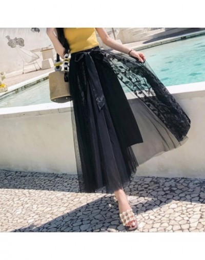Elegant Lace Tulle Long Skirts Women 2019 High Waist Pleated Maxi Skirt Female With Bow School Skirt Black Pink Blue - Black...